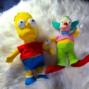 Bart and Krusty Clown stuffed toys